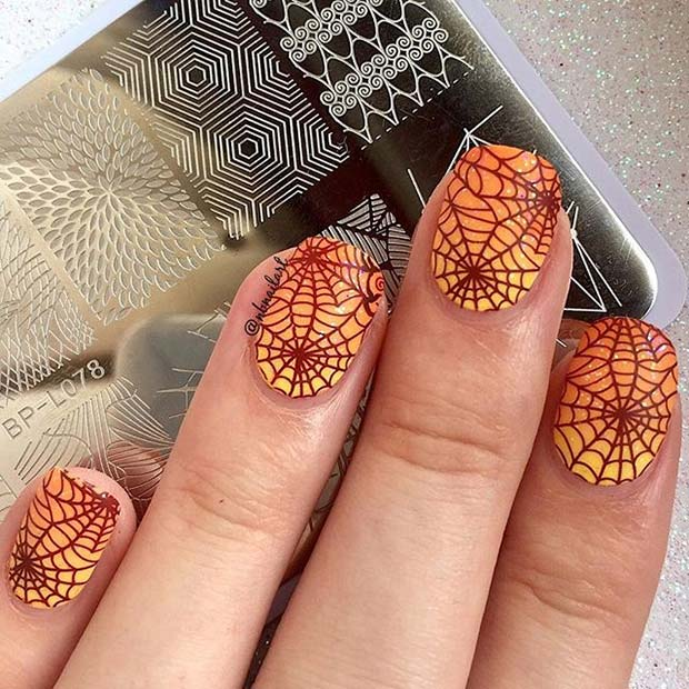 Bright Cobweb Nails for Halloween Nail Designs