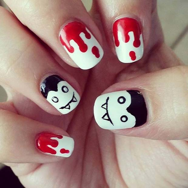 Blood and Vampire Design for Halloween Nail Designs