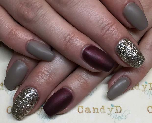Khaki, Burgundy and Gold Glitter for Fall Nail Design Ideas