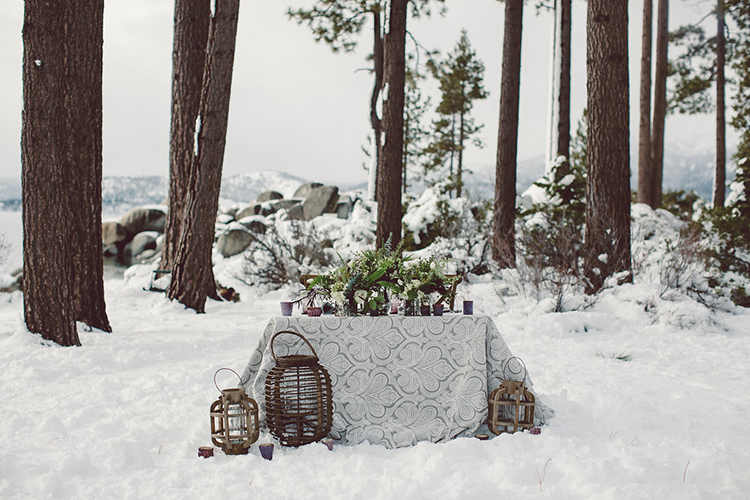 wedding reception tables - photo by Lilly Red Creative http://ruffledblog.com/lake-tahoe-beach-wedding-inspiration