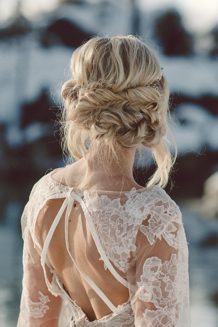 braided bridal hair - photo by Lilly Red Creative http://ruffledblog.com/lake-tahoe-beach-wedding-inspiration