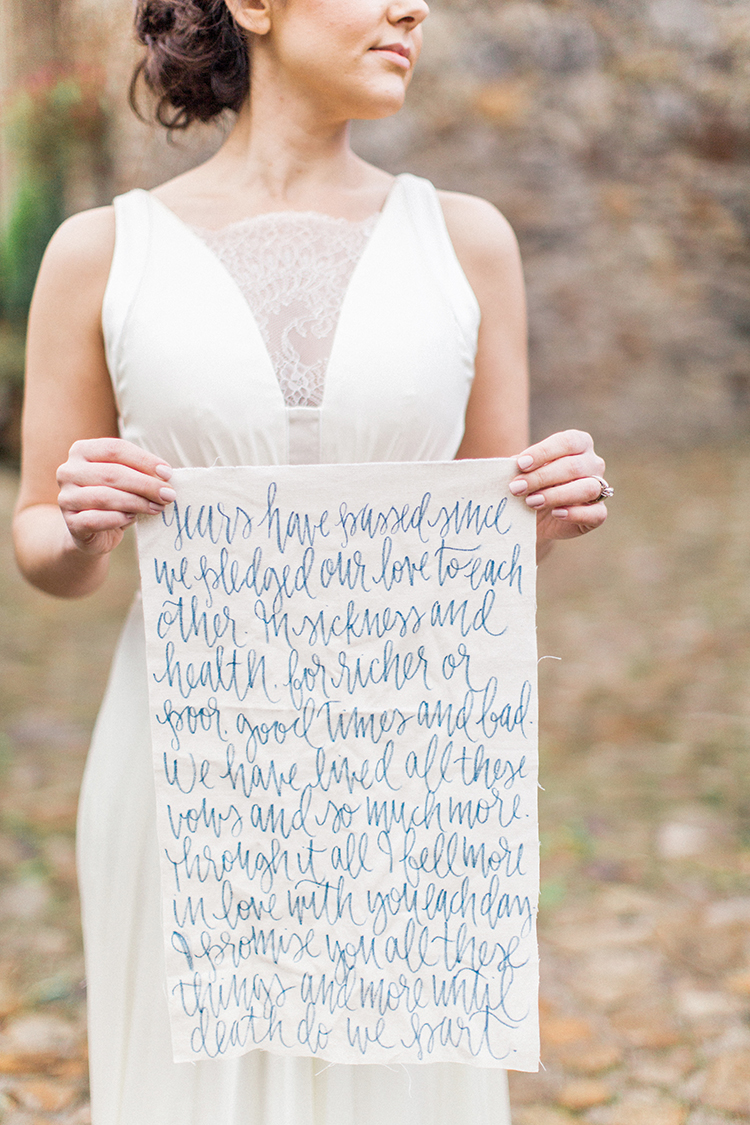 wedding vows written in calligraphy - http://ruffledblog.com/winery-vow-renewal-inspiration-with-autumn-leaves