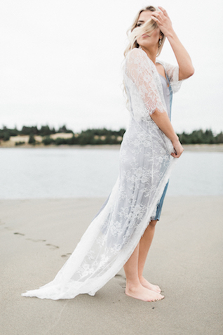 Beachy boudoir look with lace robe