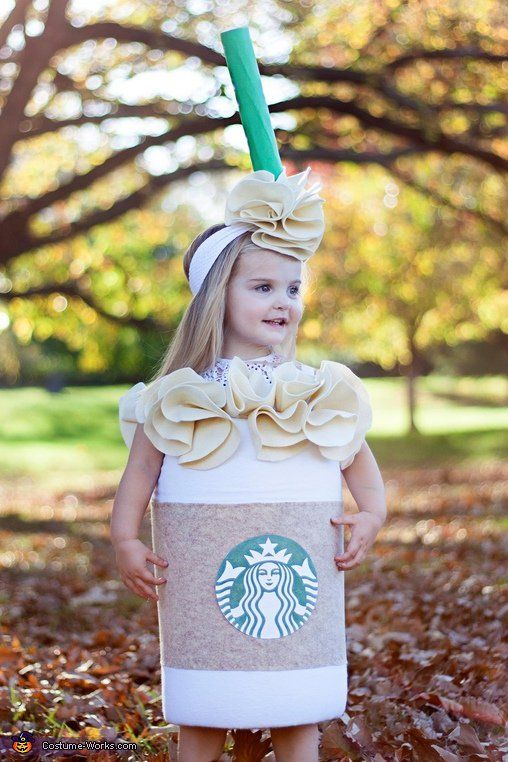 caramel frappuccino Halloween costume with a matching headband for a little girl