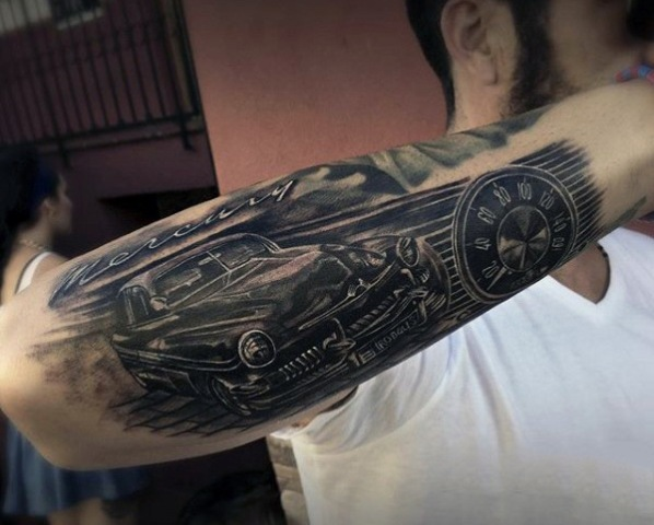 Retro car tattoo design