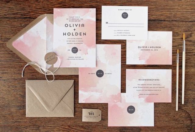 pink watercolor wedding invites and kraft paper envelopes for a colorful wedding