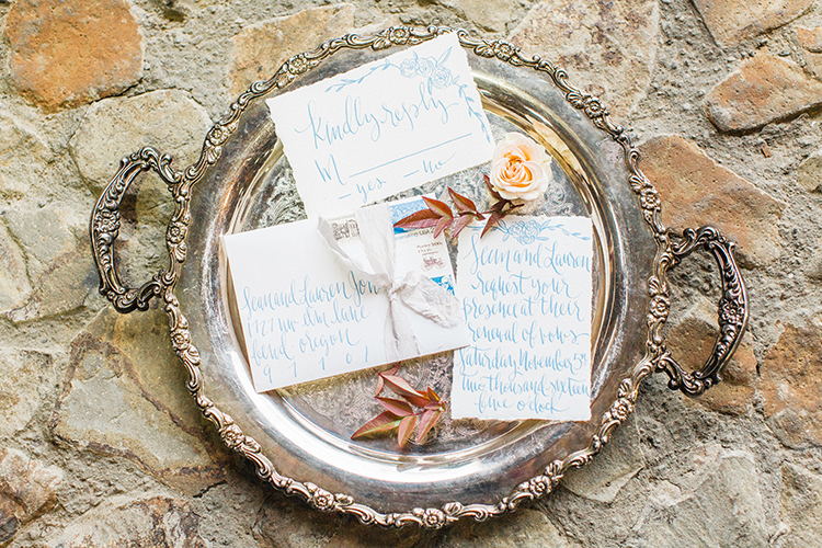 wedding paper goods - http://ruffledblog.com/winery-vow-renewal-inspiration-with-autumn-leaves