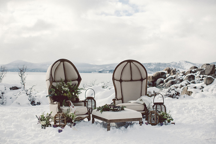 wedding lounge areas - photo by Lilly Red Creative http://ruffledblog.com/lake-tahoe-beach-wedding-inspiration
