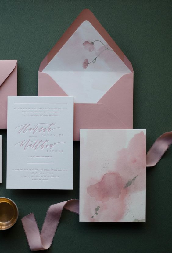 dusty rose watercolor wedding invites with letterpressing for a girlish and glam wedding