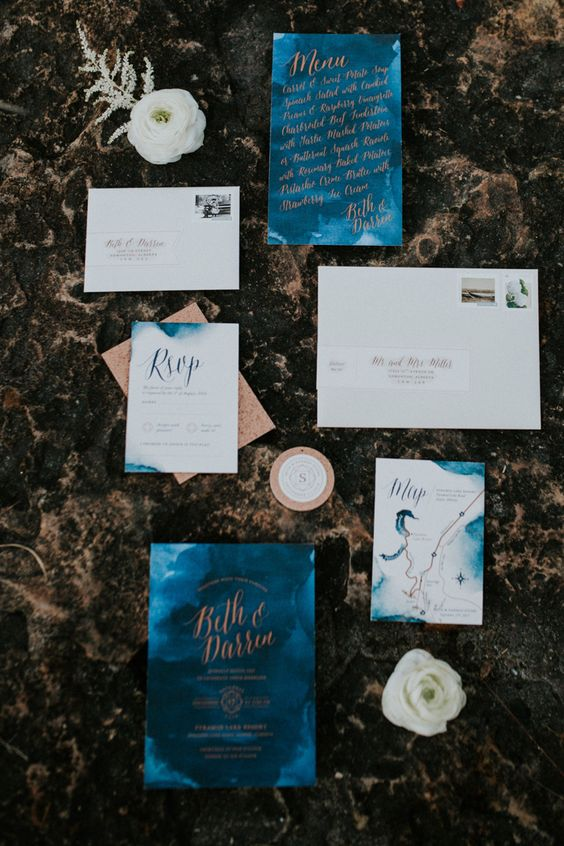 watercolor blue and copper wedding invitation suite for a chic colorful fall wedding