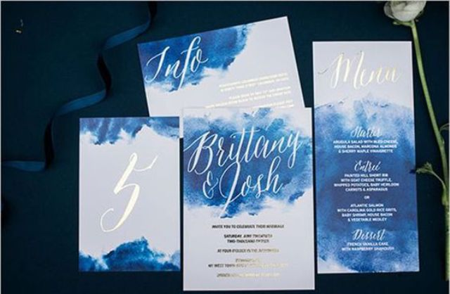'something blue' blue watercolor wedding invites with white calligraphy