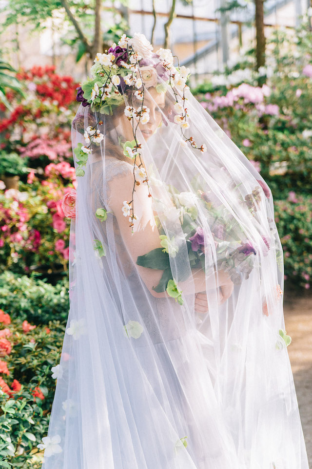 Flower covered veil