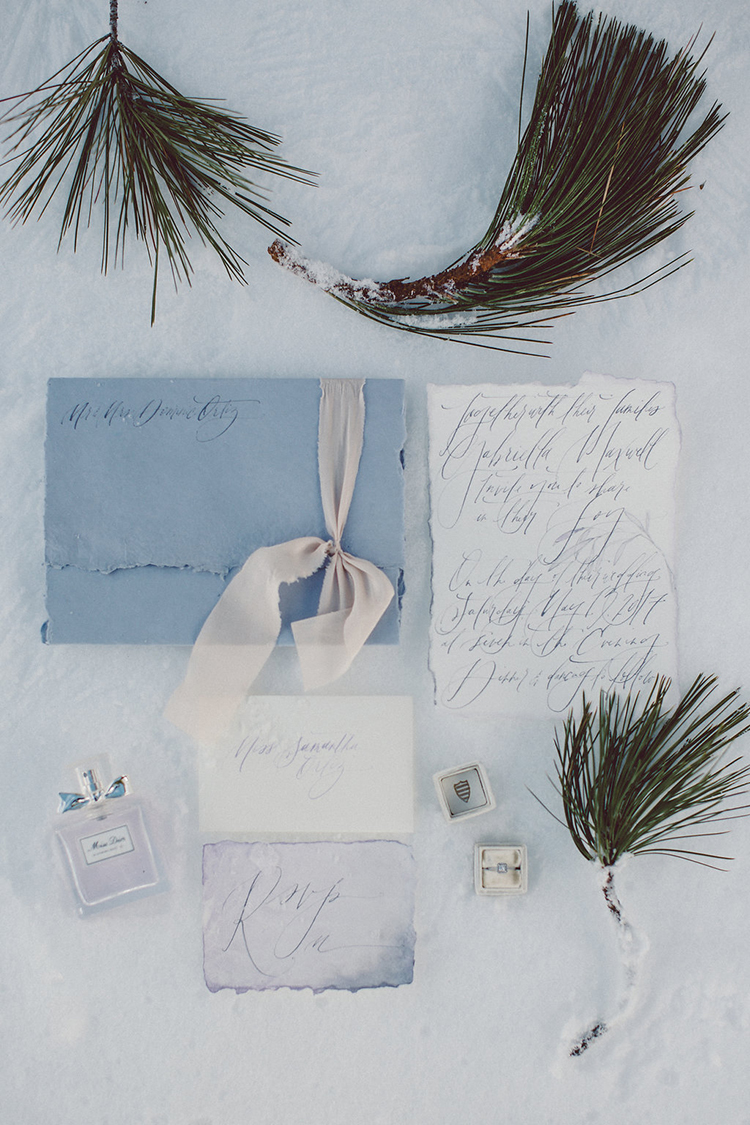 wedding stationery - photo by Lilly Red Creative http://ruffledblog.com/lake-tahoe-beach-wedding-inspiration