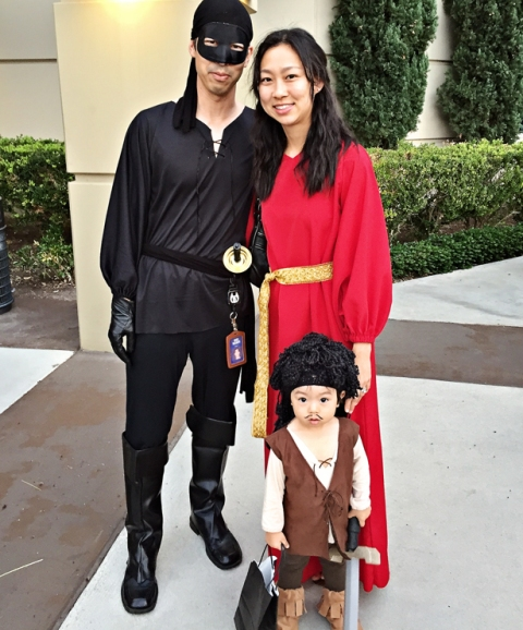 Zorro costume for the dad, a little pirate costume for the kid and a bold look for the mom