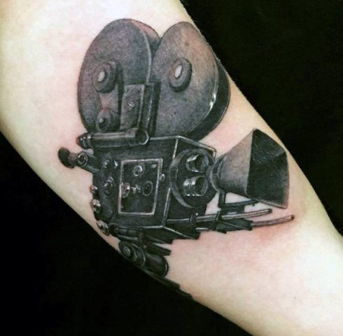 Black 3D vintage camera tattoo