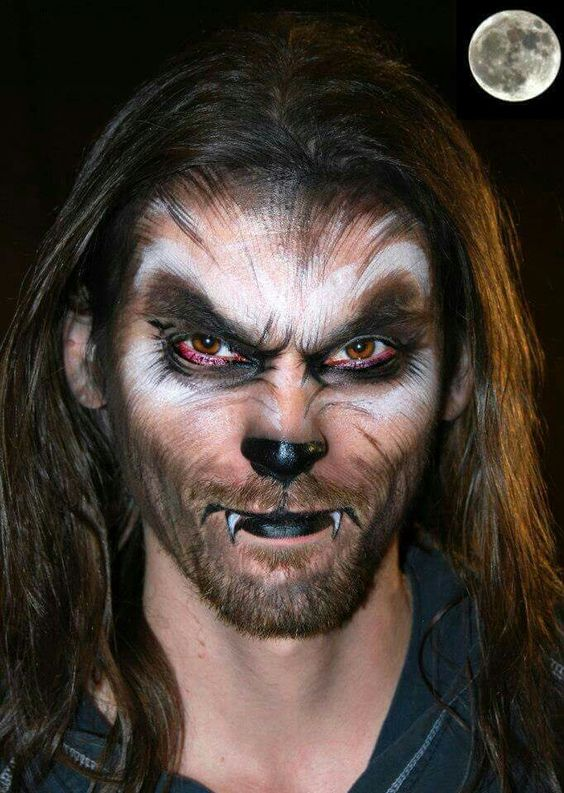 werewolf makeup looks really scary and bold on a man