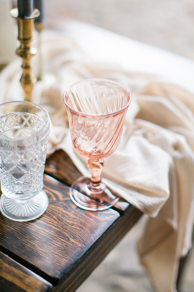 pink depression glass details - http://ruffledblog.com/winery-vow-renewal-inspiration-with-autumn-leaves
