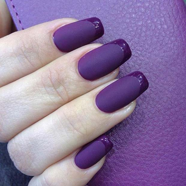 Purple Matte French Manicure for Matte Nail Designs for Fall