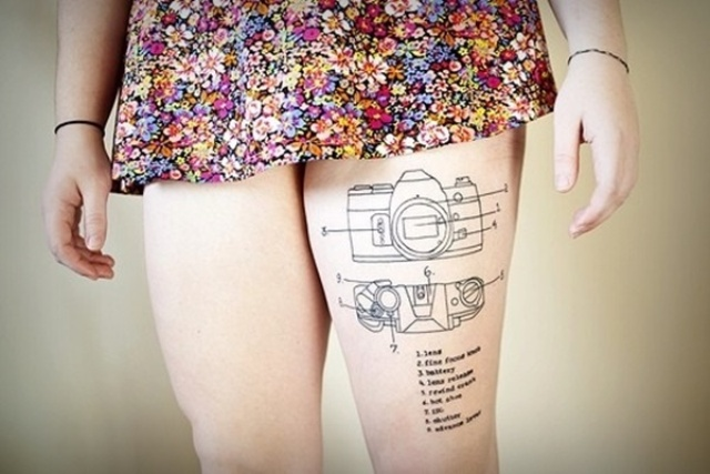 Creative tattoo idea on the leg