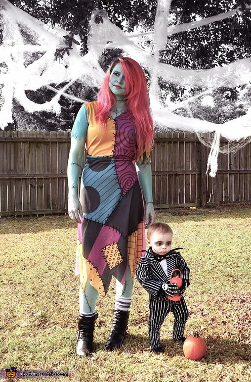 Jack Skellington and Sally costumes for the mom and her son