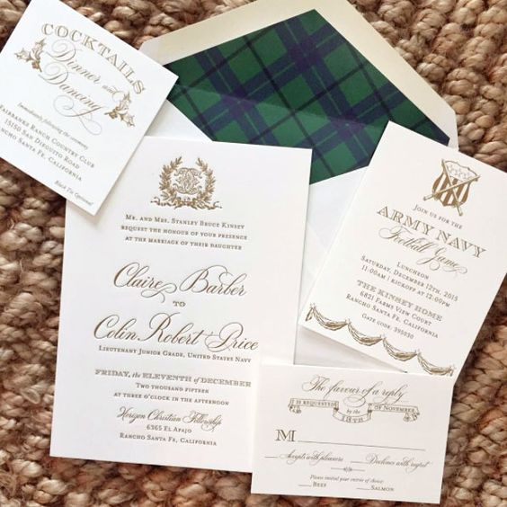 a neutral wedding invitation suite with an envelope with plaid lining for a rustic feel