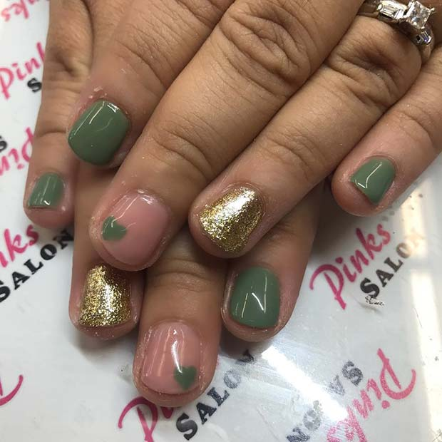 Green and Gold Glitter Nails for Fall Nail Design Ideas