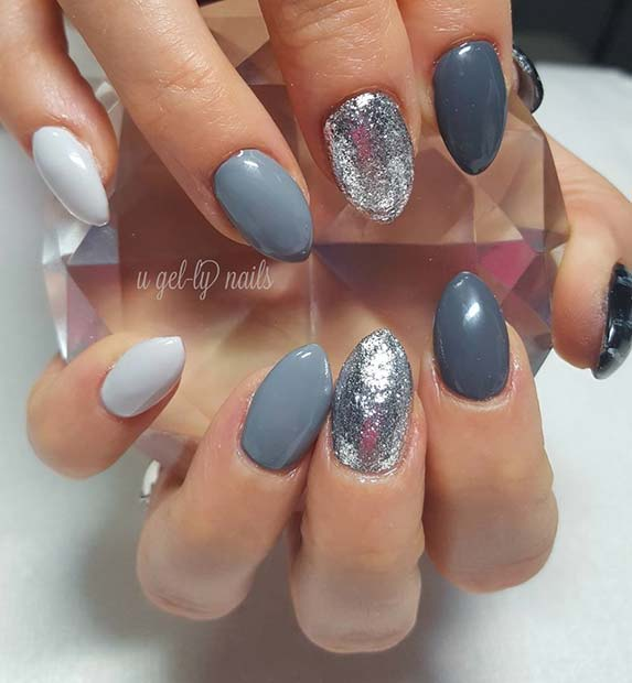 Shades of Grey and Glitter for Fall Nail Design Ideas