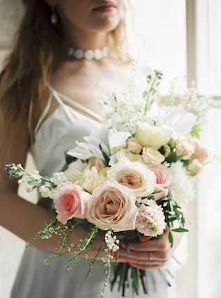 Spring roses bridal bouquet