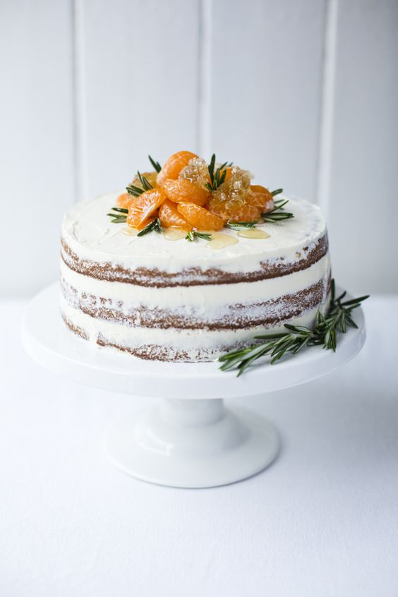 a yogurt ricotta cake topped with fresh tangerines for a winter wedding