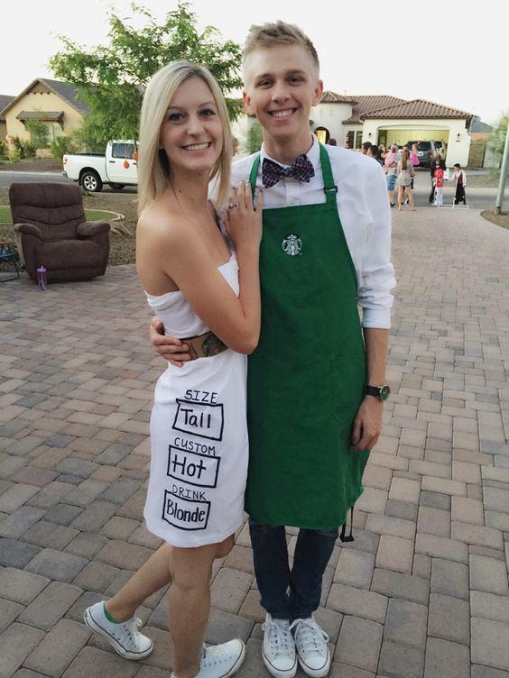Starbucks couple's costumes - a barista and a drink is very easy to recreate