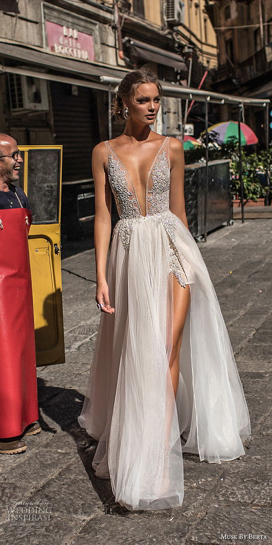 muse berta 2018 bridal sleeveless deep plunging v neck heavily embellished bodice high slit tulle skirt sexy romantic soft a line wedding dress open v back sweep train (2) fv