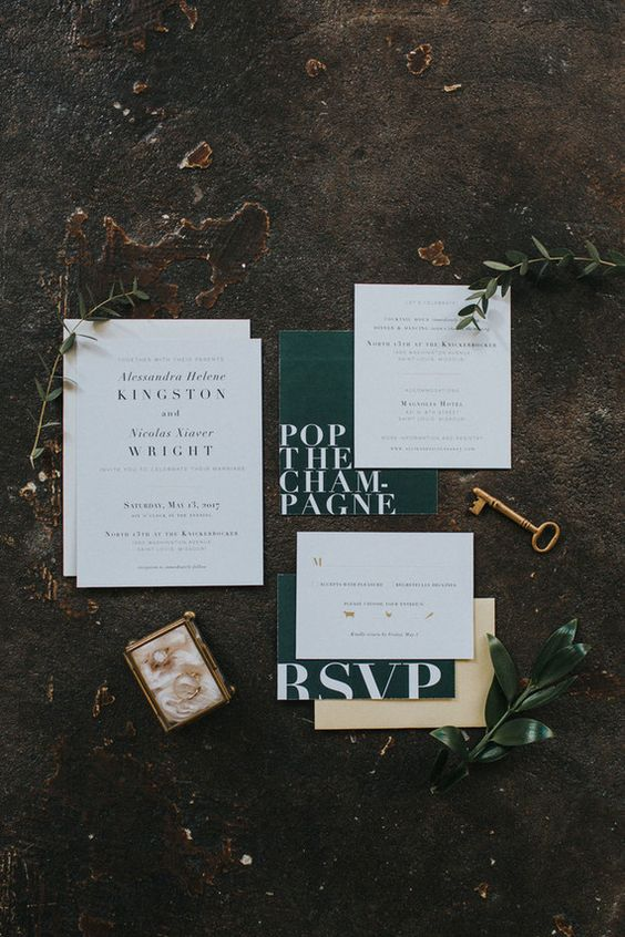 emerald and white modern wedding invitations hint on emerald as one of wedding colors