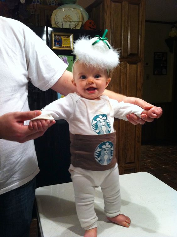 handmade Starbucks onesie costume for a little one