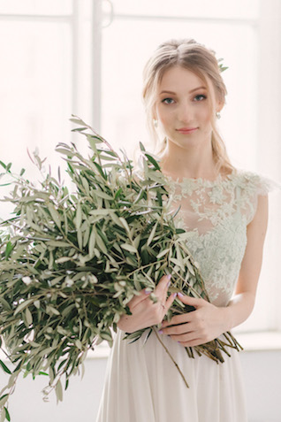 Olive branch bridal bouquet