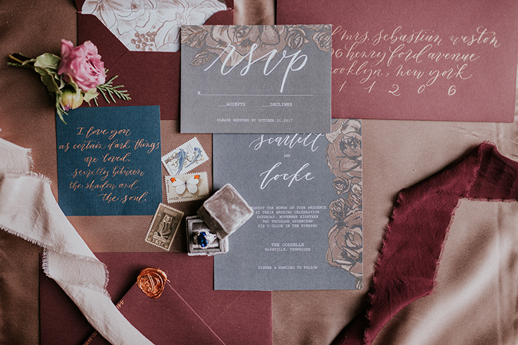 modern and moody wedding invitations - http://ruffledblog.com/artist-inspired-wedding-ideas-with-oxblood-and-navy