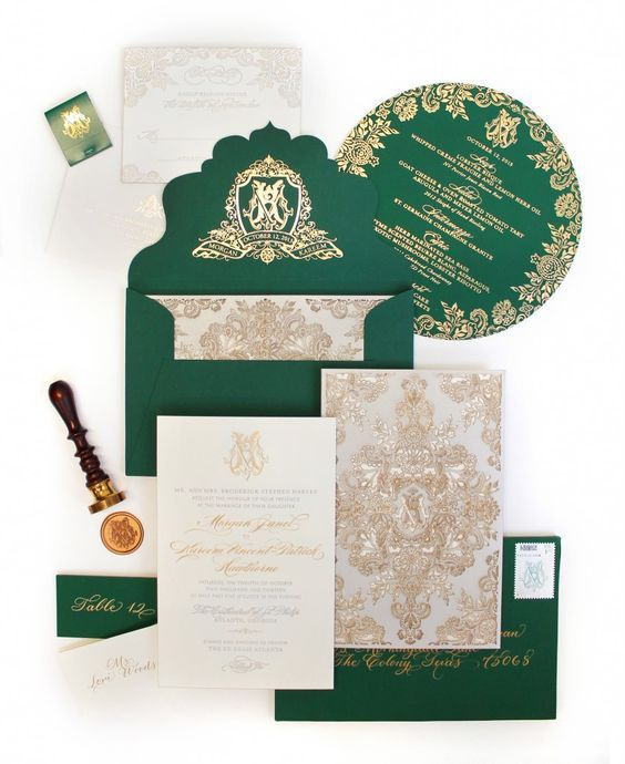 a beautiful emerald and gold wedidng invitation suite with chic prints for a vintage-inspired wedding