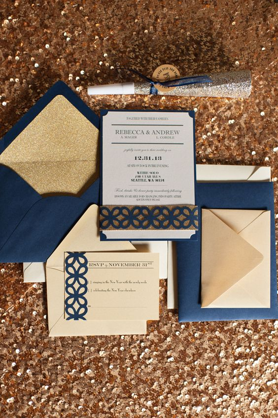 navy and gold glitter are a popular combo for New Year's Eve weddings