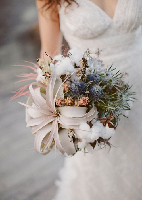 organic winter wedding bouquet with air plants, blue thistles, and cotton