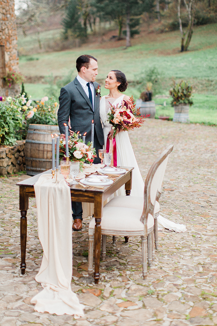 romantic winery wedding inspiration - http://ruffledblog.com/winery-vow-renewal-inspiration-with-autumn-leaves