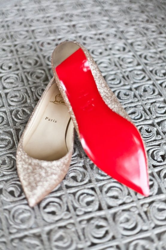 sparkly bridal flats with a red bottom by Christian Louboutin
