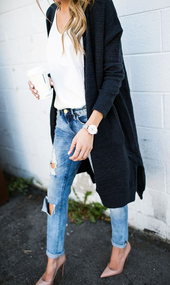blush heels, ripped denim, a white top and a black cardigan for a comfy look
