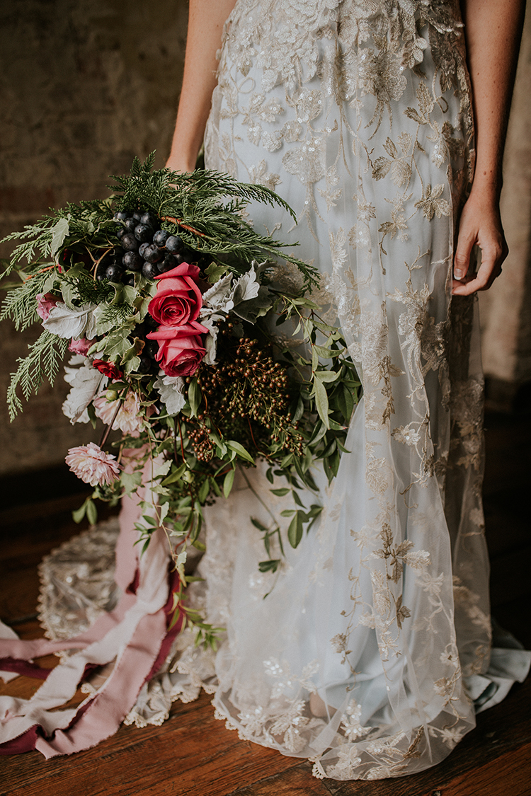 eclectic wild wedding bouquets - http://ruffledblog.com/artist-inspired-wedding-ideas-with-oxblood-and-navy