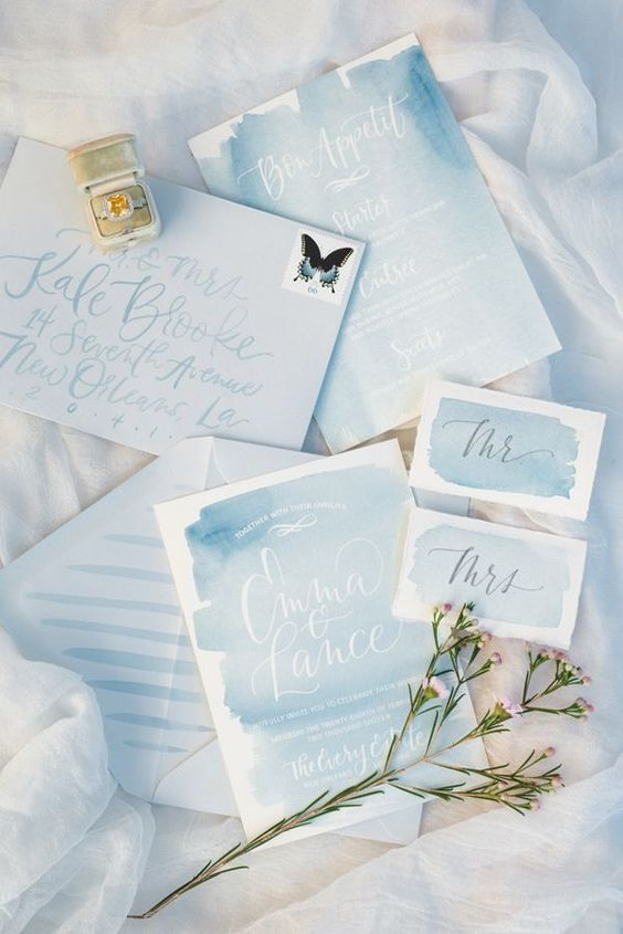 watercolor serenity blue wedding invites for a spring garden wedding