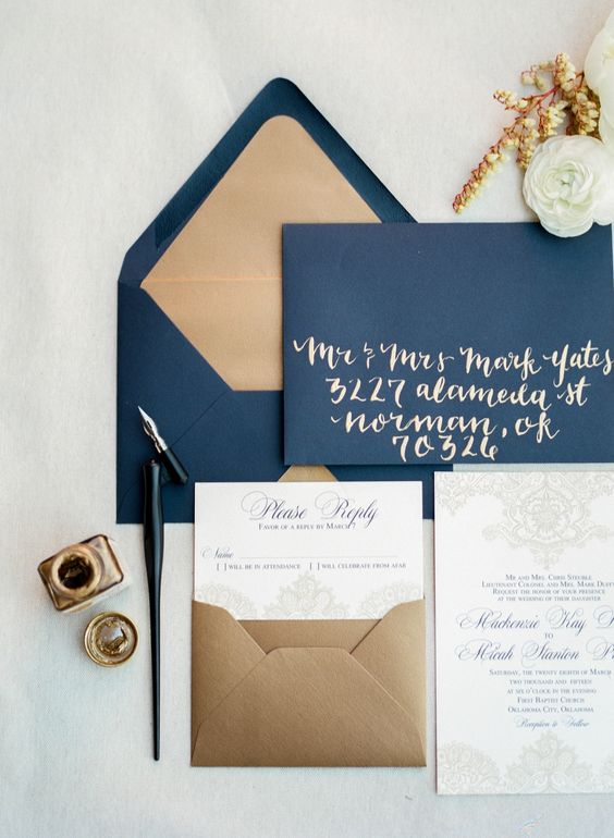 navy and gold wedding stationery for those who have chosen one of the most popular color combos for their wedding