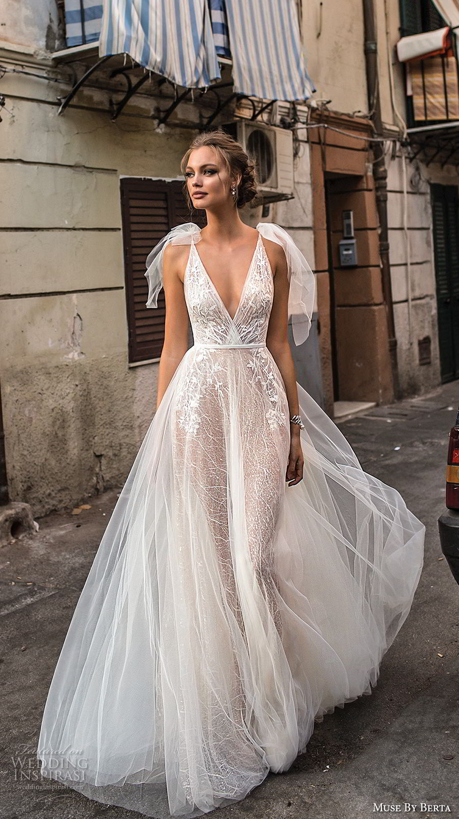 muse berta 2018 bridal sleeveless deep v neck heavily embellished bodice tulle skirt romantic a line wedding dress open back sweep train (16) mv