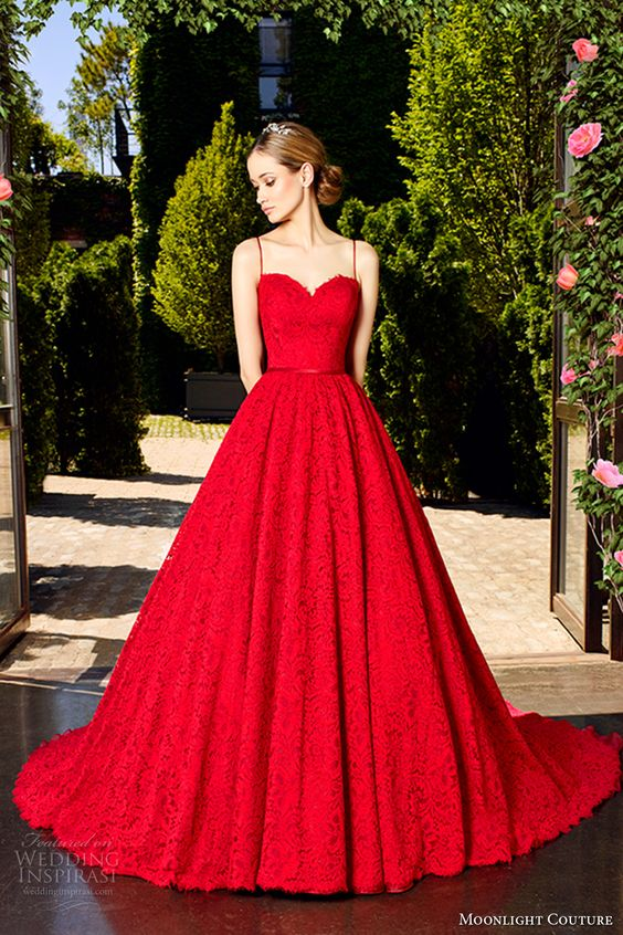 spaghetti strap sweetheart neckline wedding dress with a full skirt and lace