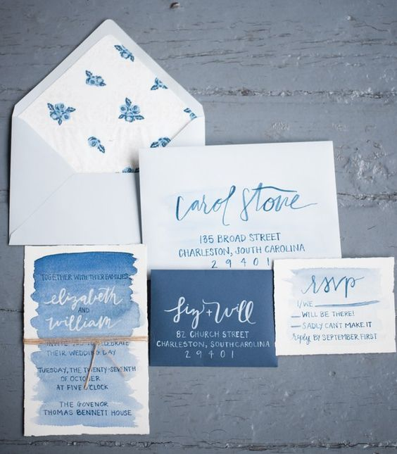 Delft blue wedding invitation suite with watercolor and floral lining can fit a spring or summer wedding