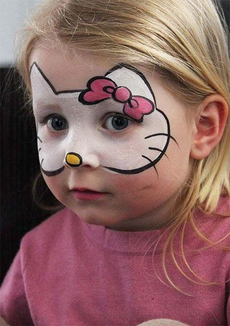 Hello Kitty face paint and some pink clothes will makeup a cool Halloween costume