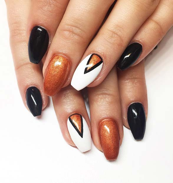 Black, Orange and White Fall Nails for Fall Nail Design Ideas