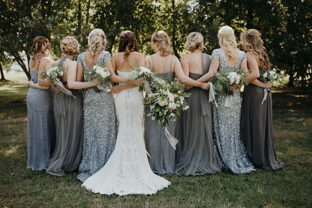 Gray mismatched bridesmaids dresses